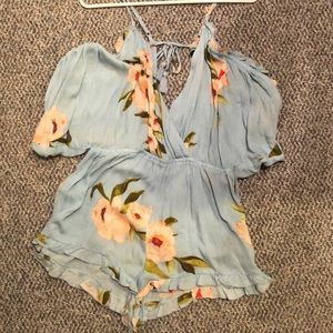 Floral top shop romper